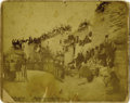 """Photography:Official Photos, 10"""" x 8"""" SEPIA IMAGE OF THE """"BEGINNING OF THE DANCE"""". This interesting tableau features a long line of young Indian warriors... (Total: 1 Item)"""