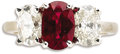 Estate Jewelry:Rings, Ruby, Diamond, White Gold Ring. The ring centers an oval-shaped ruby measuring 8.75 x 6.00 x 4.00 mm and weighing approxim...