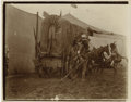"""Photography:Cabinet Photos, BACKSTAGE WITH THE WILD WEST SHOW. Pristine 5"""" x 4"""" sepia image of Indian performers, backstage at Buffalo Bill's Wild West ... (Total: 1 Item)"""