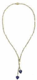 Estate Jewelry:Necklaces, Diamond, Sapphire, Gold Necklace. The lariat-style necklace features full and baguette-cut diamonds weighing a total of ap...