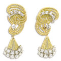 Estate Jewelry:Earrings, Diamond, Gold Earrings. Each wirework earring features full-cutdiamonds, set in rhodium finished 18k yellow gold. Total d...