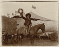 Photography:Official Photos, PANCHO VILLA RIDES AGAIN! One of Buffalo Bill's band of performers, this ersatz Pancho Villa poses for the camera atop his h... (Total: 1 Item)