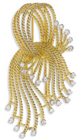 Estate Jewelry:Brooches - Pins, Diamond, Gold Clip-Brooch. The wired rope motif brooch featuresfull-cut diamonds weighing a total of approximately 1.20 c...