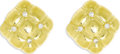 Estate Jewelry:Earrings, Diamond, Gold Earrings. Each pillow-shaped earring featuresfull-cut diamonds, set in heavy 18k yellow gold. Total diamond...