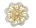 Estate Jewelry:Brooches - Pins, Diamond, Gold Pendant-Brooch. The floral design features full andsingle-cut diamonds weighing a total of approximately 1....