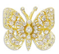 Estate Jewelry:Brooches - Pins, Diamond, Gold Pendant. The pendant, designed as a butterfly, features full-cut diamonds weighing a total of approximately ...
