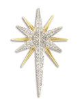 Estate Jewelry:Brooches - Pins, Diamond, Platinum, Gold Brooch. The brooch, designed in the form of the North Star, features full-cut diamonds weighing a ...