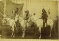 Photography:Official Photos, WILD WEST SHOW PERFORMERS SHORT MAN AND EAGLE HOUSE (TWO COPIES). Seen here with a third unidentified Indian performer, Shor... (Total: 2 Item)