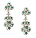 Estate Jewelry:Earrings, Diamond, Emerald, Platinum Convertible Earrings. Each earring features three round-cut emeralds measuring 3.00 mm, framed ... (Total: 2 Pieces)