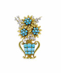Estate Jewelry:Brooches - Pins, Turquoise, Diamond, Platinum, Gold Clip-Brooch, Boucheron. The brooch is designed as a floral display resting within a Gre...