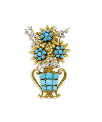 Turquoise, Diamond, Platinum, Gold Clip-Brooch, Boucheron  The brooch is designed as a floral display resting within a G...
