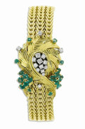Timepieces:Wristwatch, Patek Philippe & Co., Lady's, Diamond, Emerald, Gold CoveredIntegral Bracelet Wristwatch, Circa 1957. Case: 24 mm, 18k y...