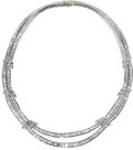 Estate Jewelry:Necklaces, Diamond, White Gold Necklace. The swag style necklace is composedof baguette-cut diamonds weighing a total of approximate...