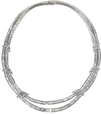 Diamond, White Gold Necklace  The swag style necklace is composed of baguette-cut diamonds weighing a total of approxima...