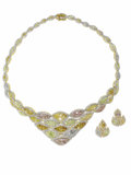 Estate Jewelry:Other , Diamond, Colored Diamond, Gold Jewelry Suite. The suite includes:one necklace featuring pink, yellow and pale blue full-c... (Total:3 Items)