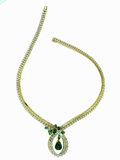 Estate Jewelry:Necklaces, Emerald, Diamond, Gold Necklace. The ribbon-like necklace featuresa pear-shaped emerald cabochon drop measuring 15.00 x 1...