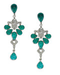 Estate Jewelry:Earrings, Emerald, Diamond, Platinum Earrings. Each dangling earring featurespear-shaped emerald cabochons ranging in size from 6.0...
