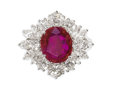 Estate Jewelry:Rings, Ruby, Diamond, Platinum Ring. The ring centers an oval-shaped rubymeasuring 10.55 x 9.20 x 4.70 mm and weighing approxima...