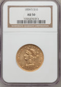 Liberty Eagles, 1854-S $10 AU50 NGC....