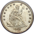 Seated Quarters, 1863 25C MS66 PCGS Secure....