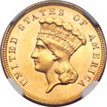 Three Dollar Gold Pieces, 1879 $3 MS62 NGC....