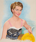 Pin-up and Glamour Art, LOU SHABNER (British, 20th Century). Pin-Up with a StrawHat. Oil on canvas. 24 x 20 in.. Not signed. From theEstat...