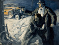 Mainstream Illustration, EDMUND FRANKLIN WARD (American, 1892-1991). The RoaringTwenties. Oil on canvas. 30 x 40 in.. Signed lower left.Fro...