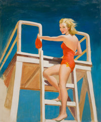 LOU SHABNER (British, 20th Century) The High Diver Oil on canvas laid on board 29.75 x 24.75 in.<