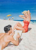 Pin-up and Glamour Art, ARTHUR SARON SARNOFF (American, 1912-2000). At the Beach,Coronet magazine cover, August 1954. Gouache and tempera onbo...