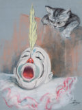 Mainstream Illustration, PETER DRIBEN (American, 1902-1968). Clown with Cat. Pastelon paper. 18 x 14 in.. Signed lower right. ...
