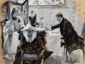 Pulp, Pulp-like, Digests, and Paperback Art, ALBERT BECK WENZELL (American, 1864-1917). Man and Woman Dining,interior story illustration, 1894. Watercolor and tempe...