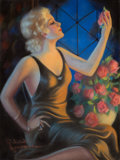 Pin-up and Glamour Art, RAYMOND WILSON HAMMELL (American, b. 1896). Pin-Up withRoses. Pastel on board. 36 x 27 in.. Signed lower left. ...