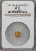 California Fractional Gold, 1867 25C Liberty Round 25 Cents, BG-825, R.4, MS61 NGC....