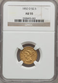 Liberty Quarter Eagles, 1852-O $2 1/2 AU55 NGC....
