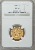 Liberty Half Eagles, 1840 $5 Narrow Mill AU58 NGC....