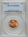 Lincoln Cents: , 1971-D 1C MS66 Red PCGS. PCGS Population (172/19). NGC Census:(86/5). Numismedia Wsl. Price for problem free NGC/PCGS coi...