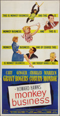 "Movie Posters:Comedy, Monkey Business (20th Century Fox, 1952). Three Sheet (41"" X 81""). Comedy.. ..."