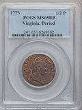 Colonials, 1773 1/2P Virginia Halfpenny, Period MS65 Red and Brown PCGS. N. 25-M, W-1580, R.2....