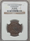 Colonials, 1788 COPPER Connecticut Copper, Mailed Bust Right XF40 NGC. M. 2-D, W-4405, R.1....