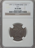 Half Cents, 1797 1/2 C 1 Above 1, Plain Edge VF25 NGC. C-1, B-1, R.2....