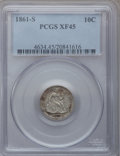 Seated Dimes, 1861-S 10C XF45 PCGS....