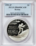 Modern Issues: , 1991-P $1 Korean War Silver Dollar PR69 Deep Cameo PCGS. PCGSPopulation (2249/41). NGC Census: (2351/34). Mintage: 618,488...