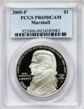 Modern Issues, 2005-P $1 Marshall PR69 Deep Cameo PCGS. PCGS Population(1538/223). NGC Census: (2118/872). Numismedia Wsl. Price forpro...