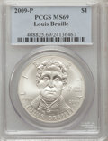 Modern Issues, 2009-P $1 Braille MS69 PCGS. PCGS Population (1282/465). NGCCensus: (1814/1517). Numismedia Wsl. Price for problem free N...