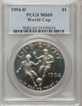 Modern Issues: , 1994-D $1 World Cup Silver Dollar MS69 PCGS. PCGS Population(1335/42). NGC Census: (998/66). Mintage: 81,698. Numismedia W...