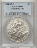 Modern Issues: , 1991-1995D $1 World War II Silver Dollar MS69 PCGS. PCGS Population(2131/209). NGC Census: (1333/546). Mintage: 94,708. Nu...