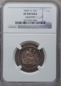 Seated Quarters, 1849-O 25C -- Graffiti -- NGC Details. XF....