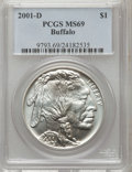 Modern Issues: , 2001-D $1 Buffalo Silver Dollar MS69 PCGS. PCGS Population(13851/823). NGC Census: (11328/1673). Numismedia Wsl. Price fo...