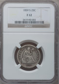 Seated Quarters, 1859-S 25C Fine 12 NGC....