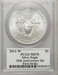 Modern Bullion Coins, 2011-W $1 Silver Eagle, 25th Anniversary, Insert autographed ByJohn M. Mercanti,12th Chief Engraver of the U.S. Mint, Fi...